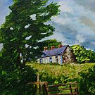 'Summer Silence, Deserted Cottages, Rural Downpatrick, County Down' | Oil and acrylic on Canvas, 12 x 16 inches by Laura Butler