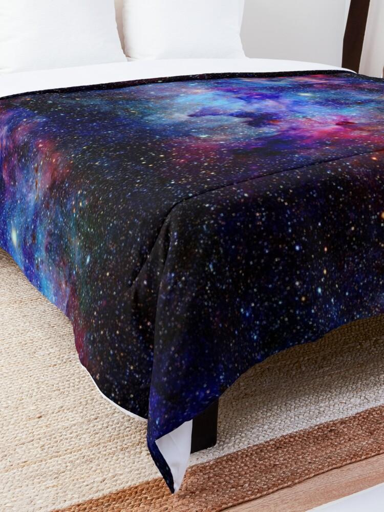 Alternate view of Blue Glitter Star Galaxy Artwork Comforter