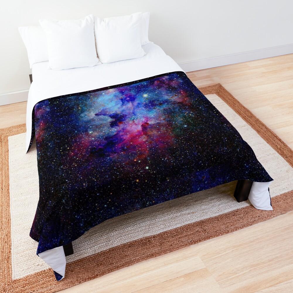 Blue Glitter Star Galaxy Artwork Comforter