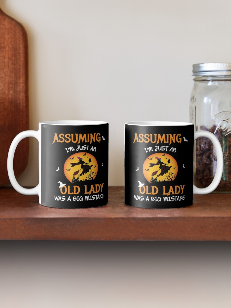 Alternate view of Old Lady Witch Broomstick Black Cat Bats Spider. Mug