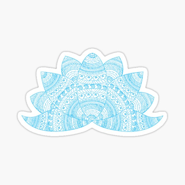 Teal lotus doodle mandala on blurred sunset with sun flare Sticker