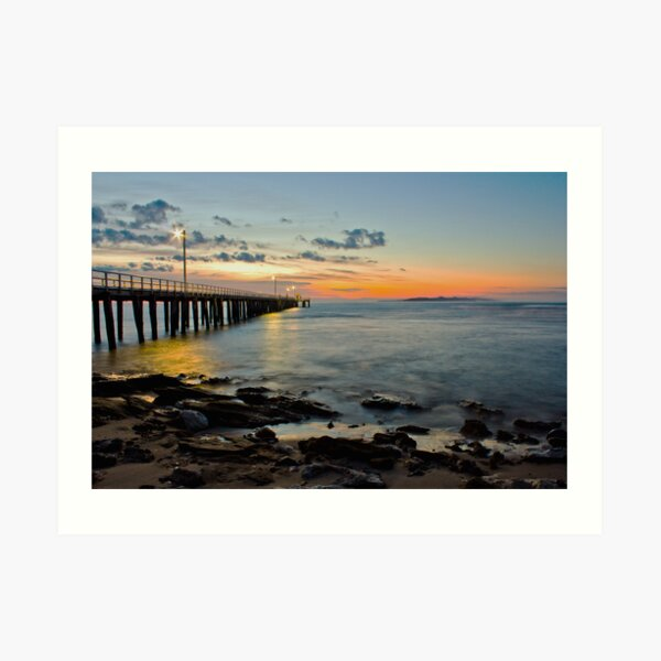 silky water by the pier Art Print