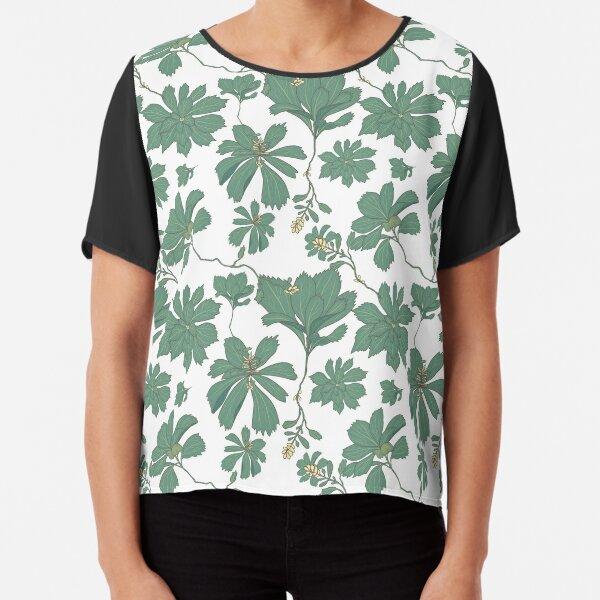Pachysandra Green Foliage Pattern Chiffon Top
