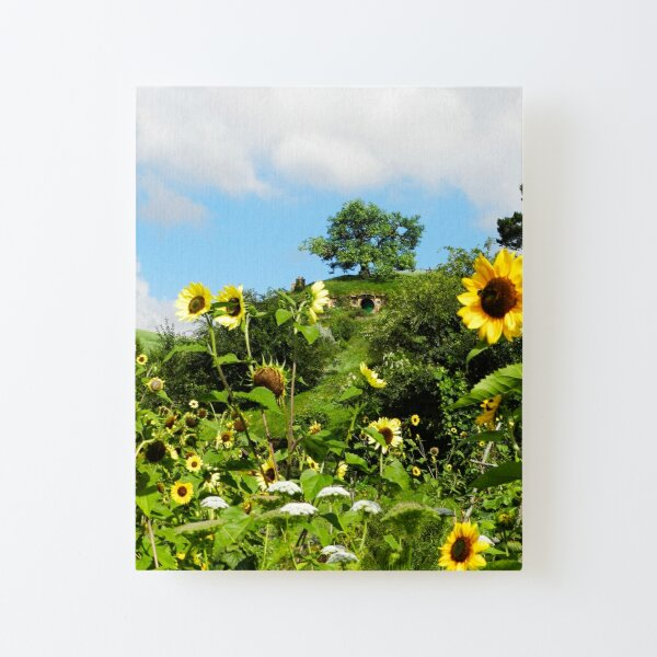 Bag End With Sunflowers Canvas Mounted Print