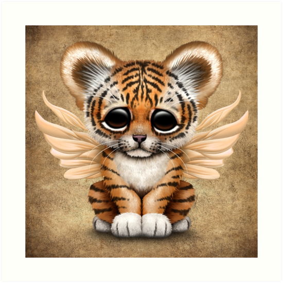 Cute Baby Tiger Cub With Fairy Wings By Jeff Bartels