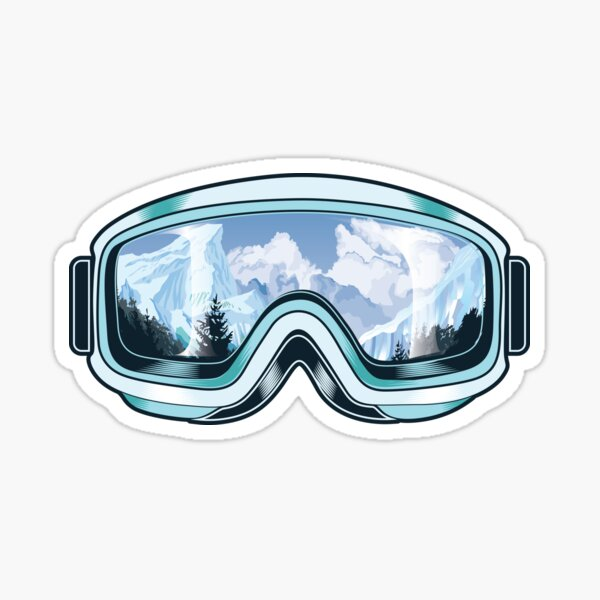 Skis goggles with nature reflections Sticker