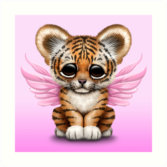 Cute Baby Tiger Cub With Fairy Wings On Pink By Jeff Bartels