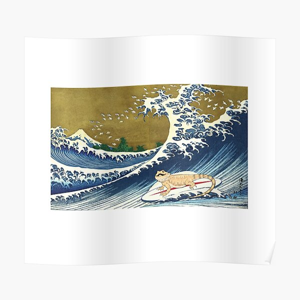 Bearded Dragon Surfing Poster