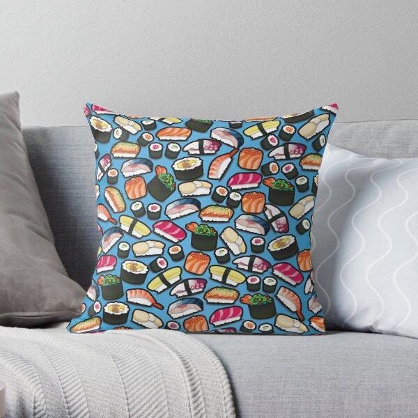 Blue Sushi Throw Pillow