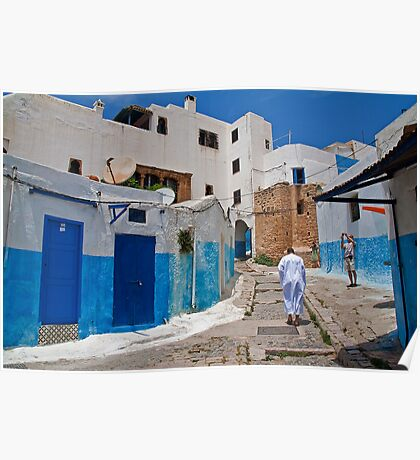 Morocco. Rabat. Streets of Kasbah Des Oudaia. Poster