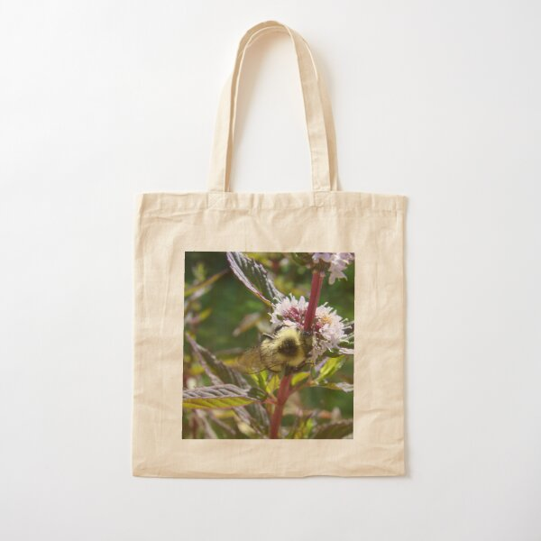 Pollinating the Mint Cotton Tote Bag