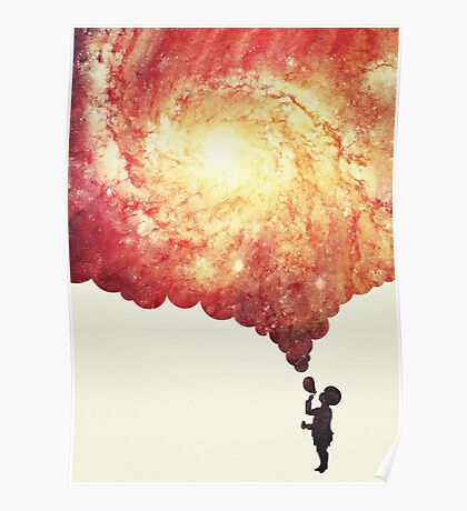 The universe in a soap-bubble! (Awesome Space / Nebula / Galaxy Negative Space Artwork) Poster