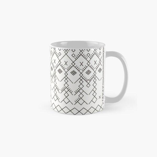 White Anthro Farmhouse & Rustic Boho White  Color Bereber Moroccan Artwork Classic Mug
