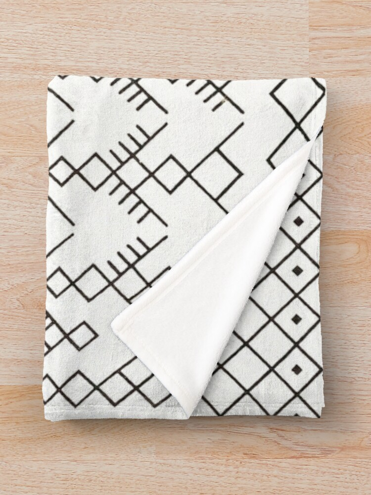 Alternate view of White Anthro Farmhouse & Rustic Boho White  Color Bereber Moroccan Artwork Throw Blanket
