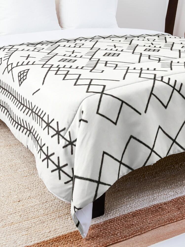 Alternate view of White Anthro Farmhouse & Rustic Boho White  Color Bereber Moroccan Artwork Comforter