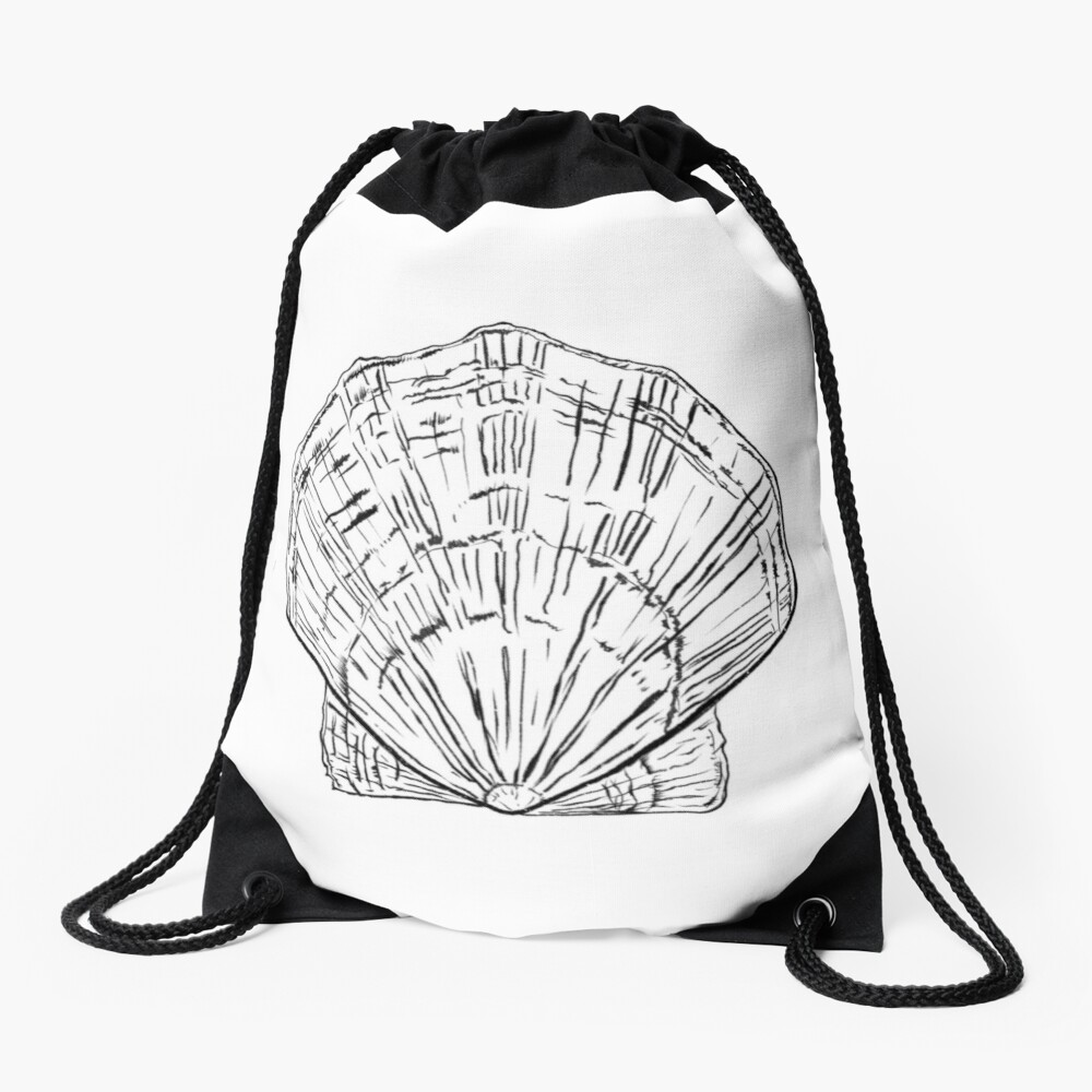Seashell - black and white  Drawstring Bag