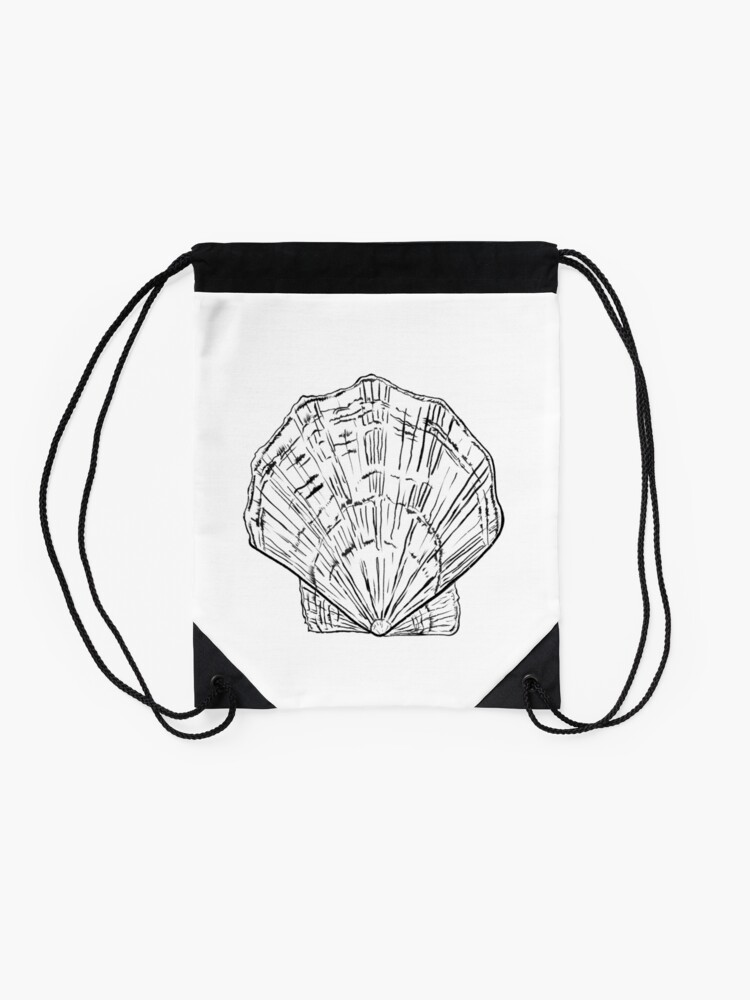 Alternate view of Seashell - black and white  Drawstring Bag