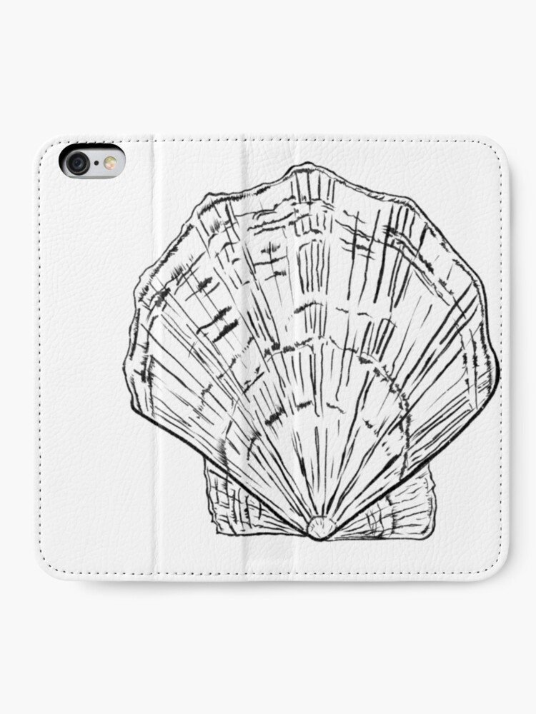 Alternate view of Seashell - black and white  iPhone Wallet