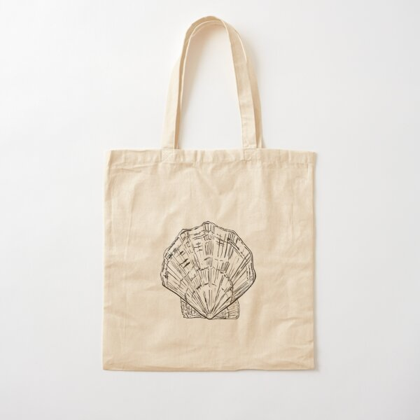 Seashell - black and white  Cotton Tote Bag