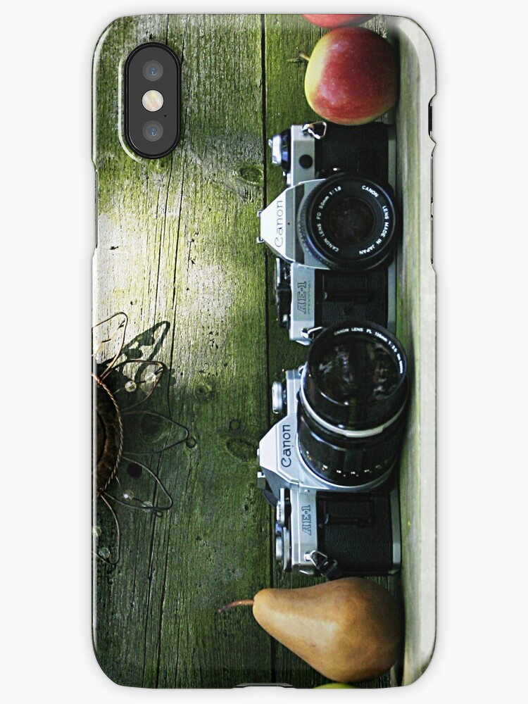 Old 35 mm Cameras and Fruit by vvfineartphotog