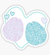 Pastel Brains in Love Sticker