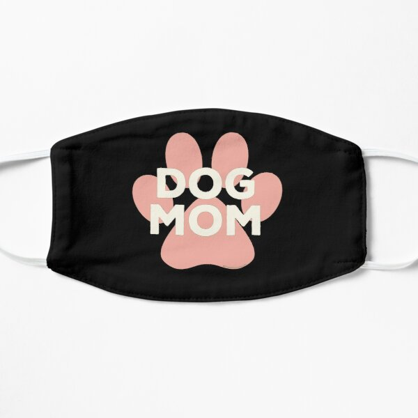 Dog Mom Pink Paw Print Ivory Lettering in Egyptian Revival Style Mask