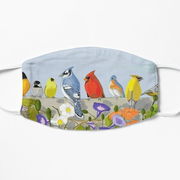 Song Birds On A Fence Flat Mask