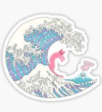 Psychodelic Bubblegum Kunagawa Surfer Cat Sticker