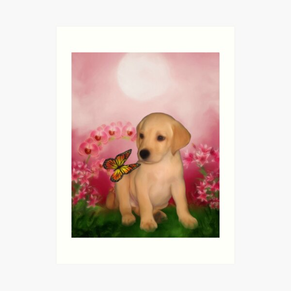 Yellow Labrador Puppy With Butterfly And Flowers Art Print