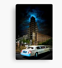 The stretch limo and the moon Canvas Print