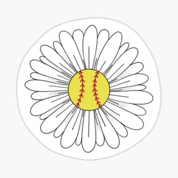 Softball Flower Sticker