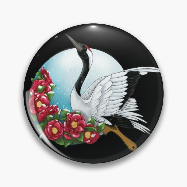 Fan with a crane and camellia in winter Pin