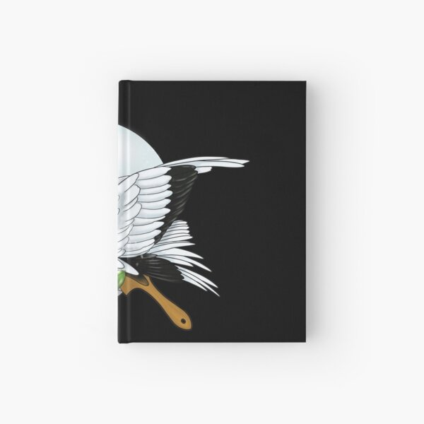 Fan with a crane and camellia in winter Hardcover Journal