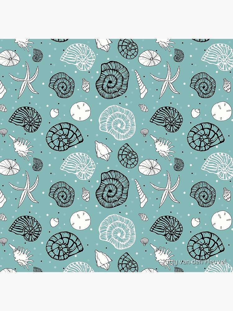 Seashells linocut and drawings combi on light seagreen bg by kittyvdheuvel