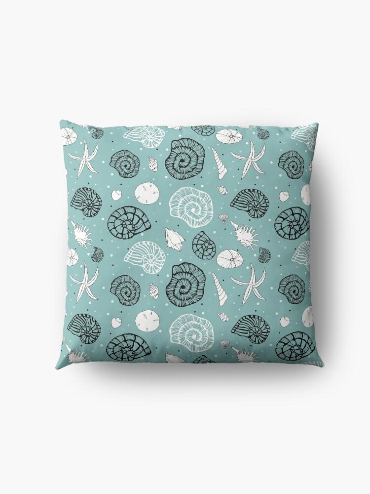 Alternate view of Seashells linocut and drawings combi on light seagreen bg Floor Pillow