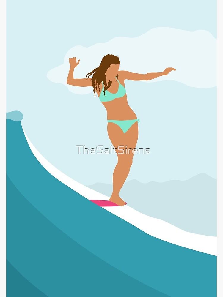Longboard Surfer Girl - Aqua by TheSaltSirens