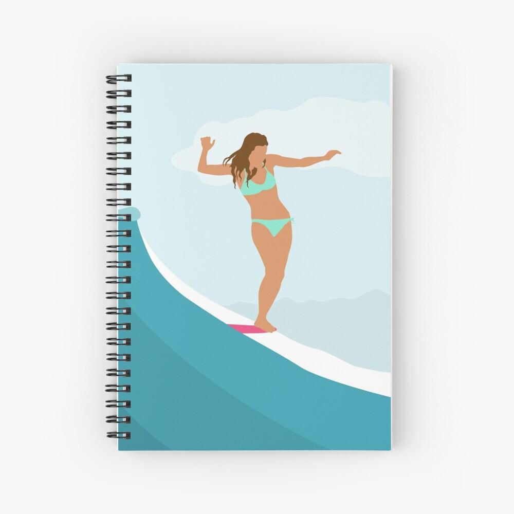 Longboard Surfer Girl - Aqua Spiral Notebook
