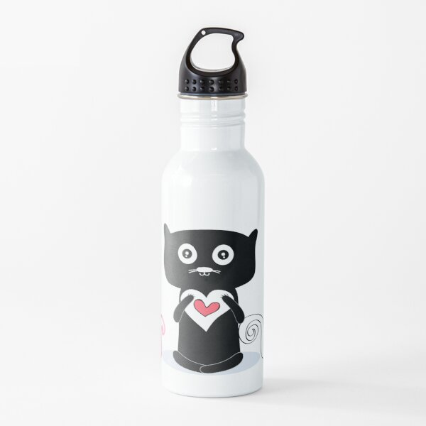 cute  cat with pink heart   Water Bottle