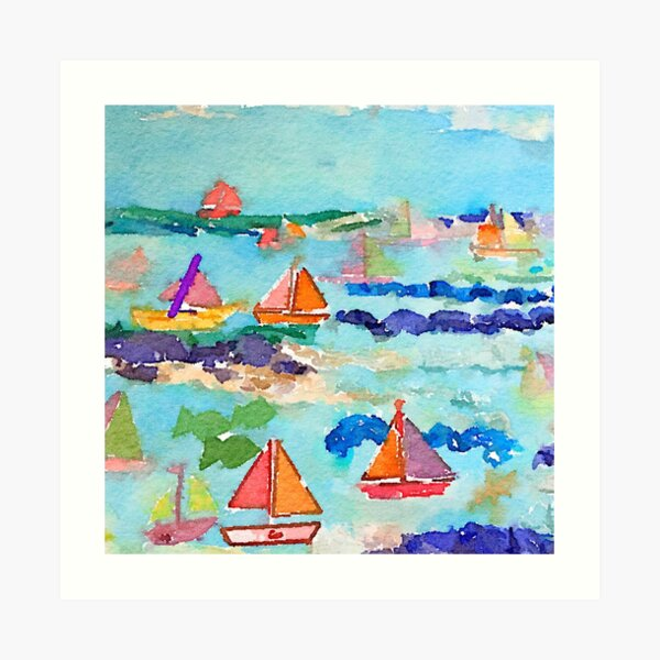Sailboat Watercolour  Art Print