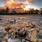 Hutt River Peach Sunset by Ken Wright