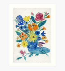 Mixed Flowers in Blue Bowl Art Print