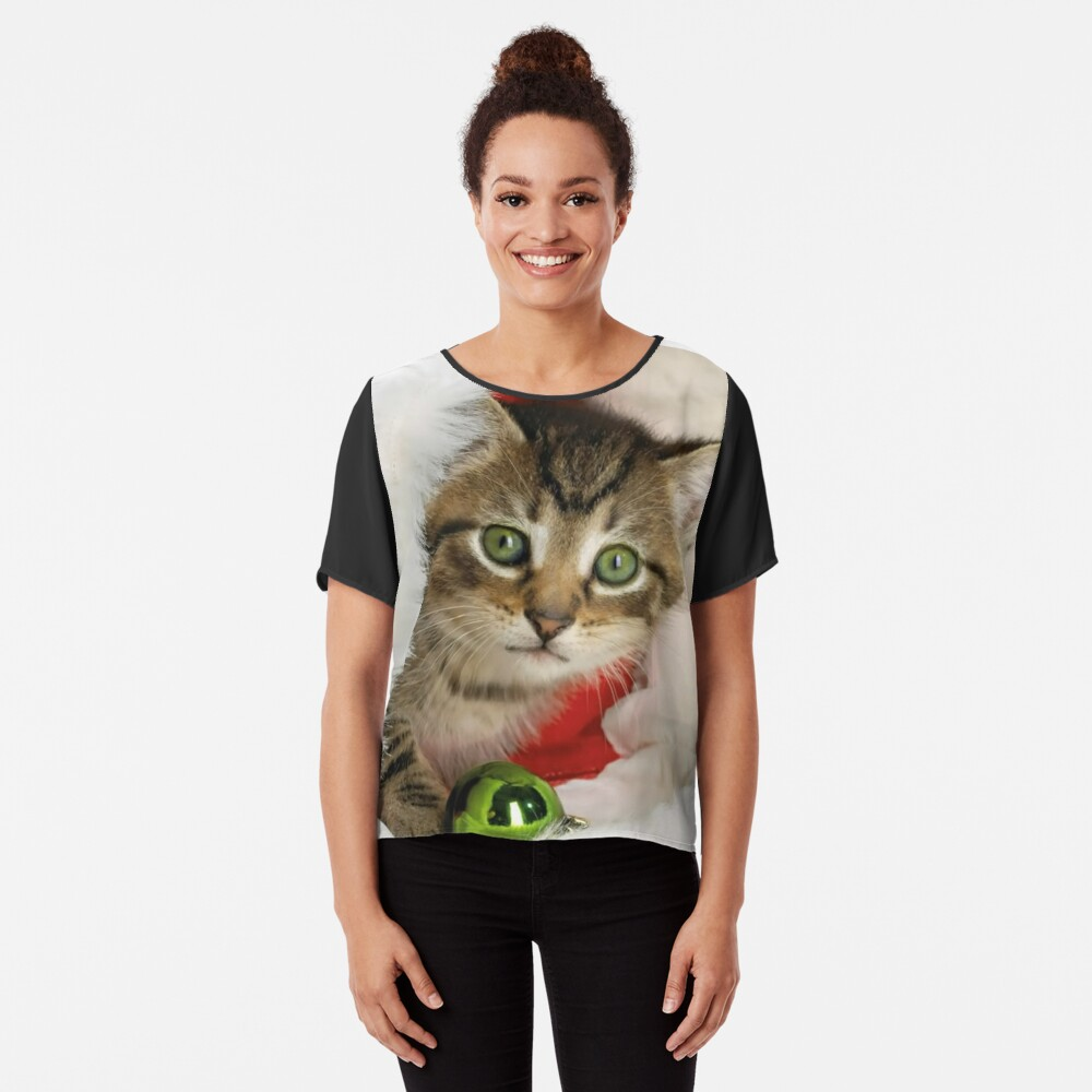 Christmas Cat Chiffon Top