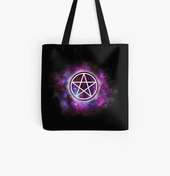 Wiccan Galaxy Pentagram All Over Print Tote Bag