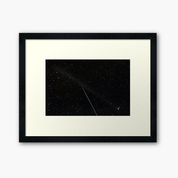 Comet Swan + Eta Aquariid meteor Framed Art Print