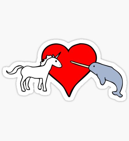 Unicorn Loves Narwhal Sticker
