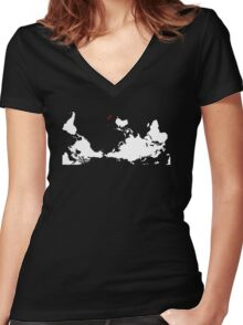 Upside Down World Map New Zealand Women's Fitted V-Neck T-Shirt