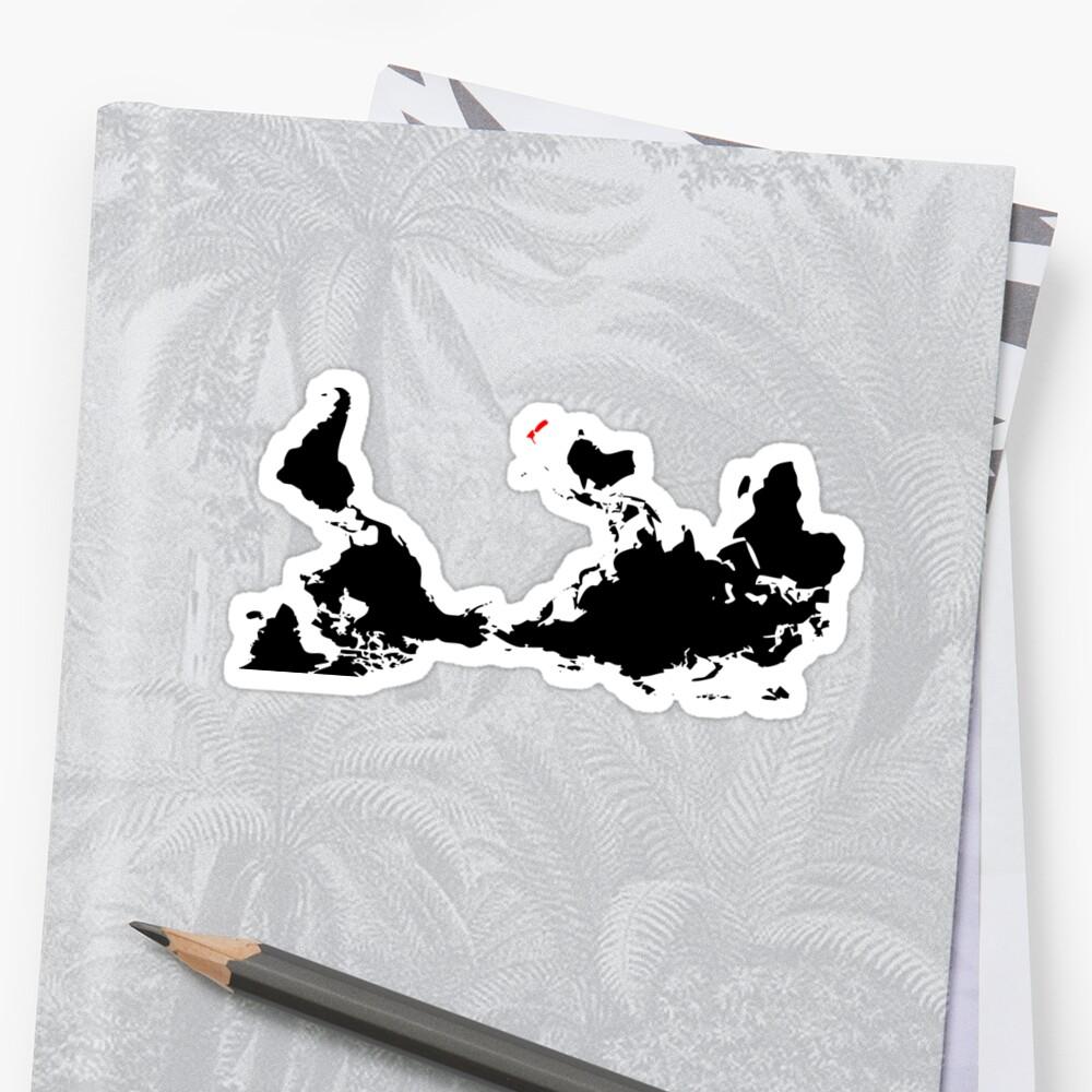Upside Down World Map New Zealand Stickers By Jezkemp Redbubble