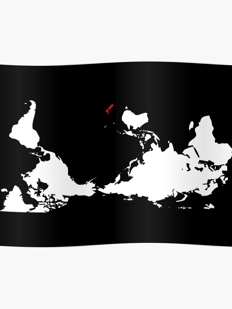 New Zealand Map In World Map.Upside Down World Map New Zealand Poster