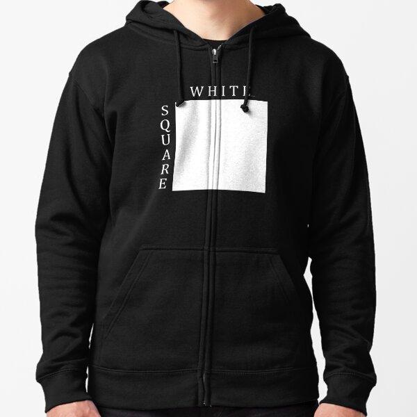 White Square Minimalist Print Zipped Hoodie