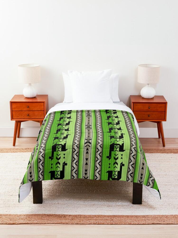 Alternate view of  Llamas_Green and Warm Gray Comforter